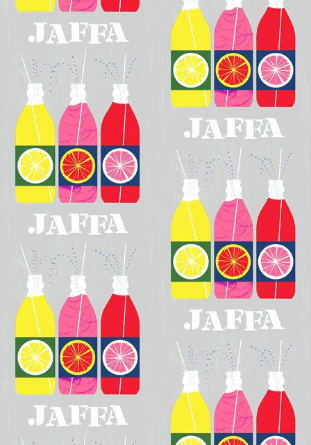 Бутылки с газировкой на ткани из коллекции Vallila 2012