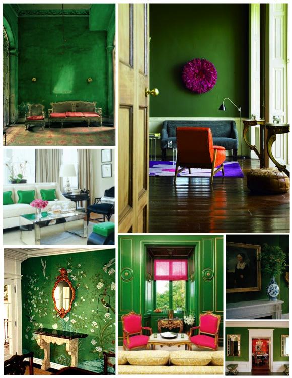 Зеленые стены в интерьерах