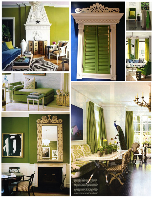 Зеленые акценты в интерьерах