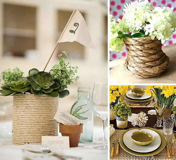 Канатные вазочки на столе