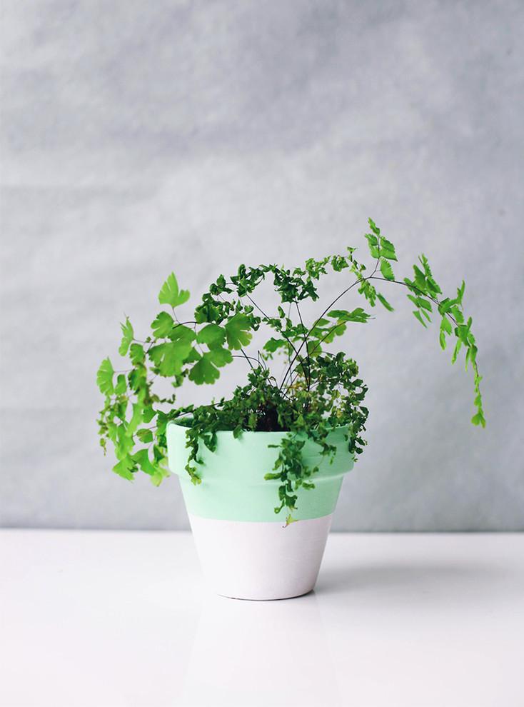 Нежный цветочный горшок бело-зелёного цвета своими руками