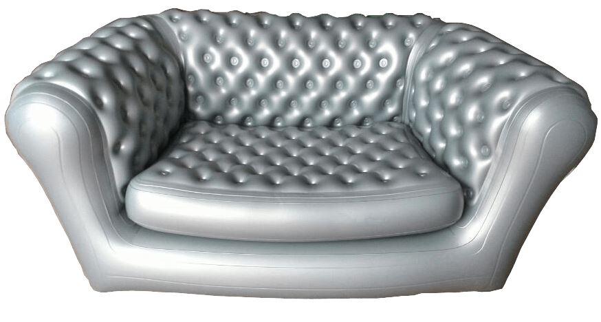 Виды необычных надувных диванов: серебристый диван от M2B
