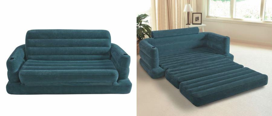 Виды необычных надувных диванов: диван с подставками для чашек