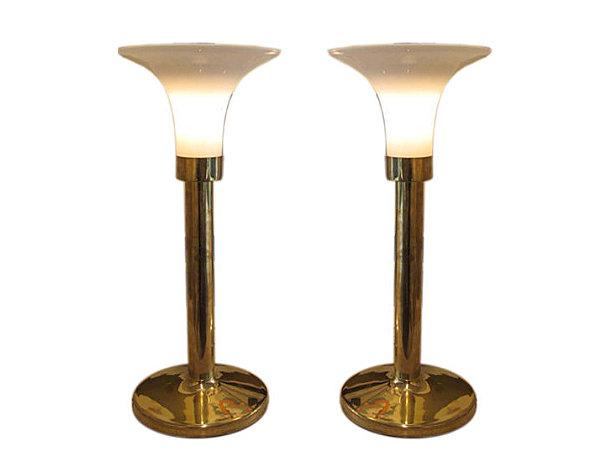 Пара медно-стеклянных прикроватных светильников