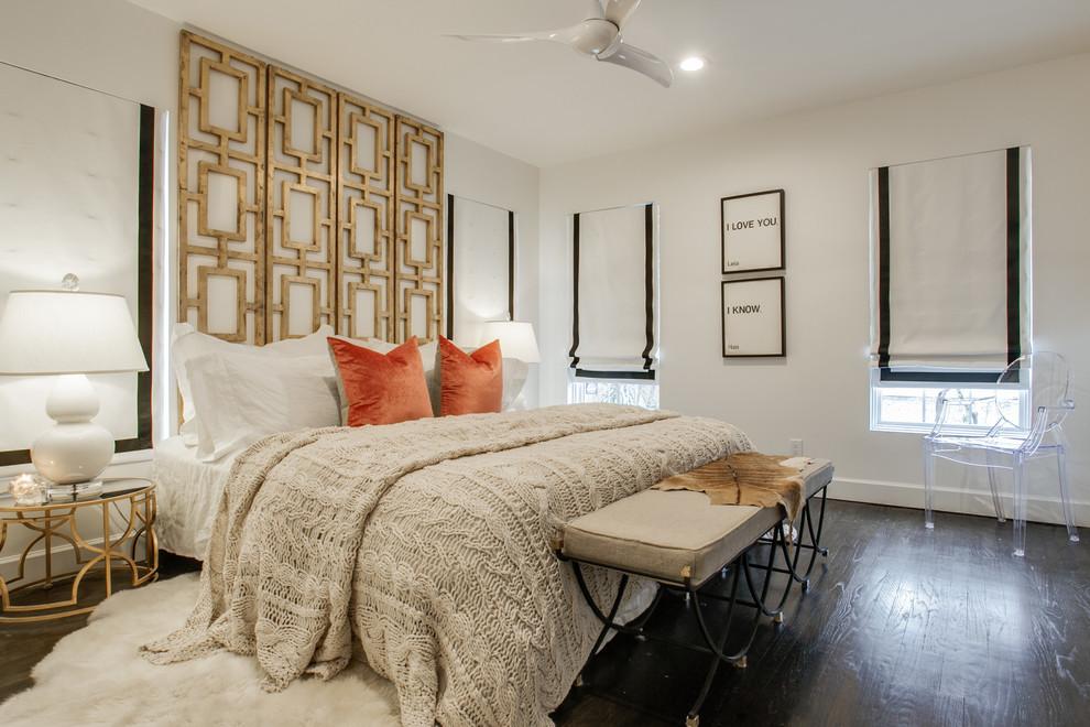 Вязаный текстиль для дома - покрывало светло-серого цвета в интерьере спальни