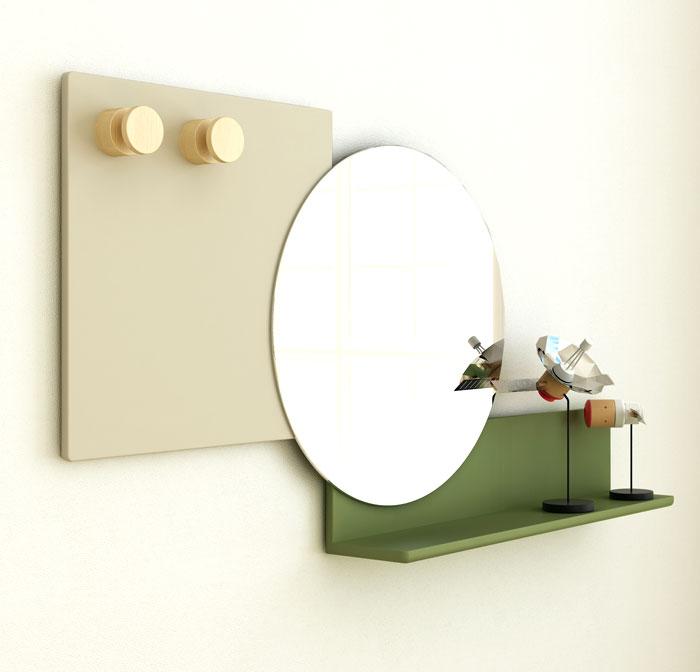 Выставка дизайнерской мебели: круглое зеркало с яркой полкой - Фото 4