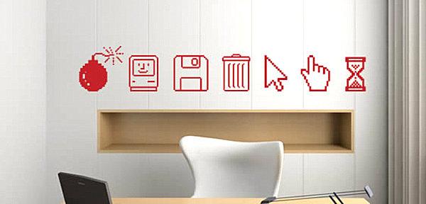 Наклейка на стену с компьютерными иконками