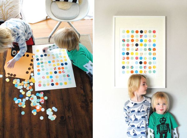 Разноцветные штампованные круги на стене
