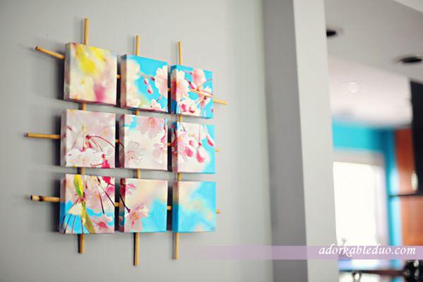 Фрагментированный холст с изображением весеннего цвета
