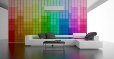 Радужные цвета в оформлении стены