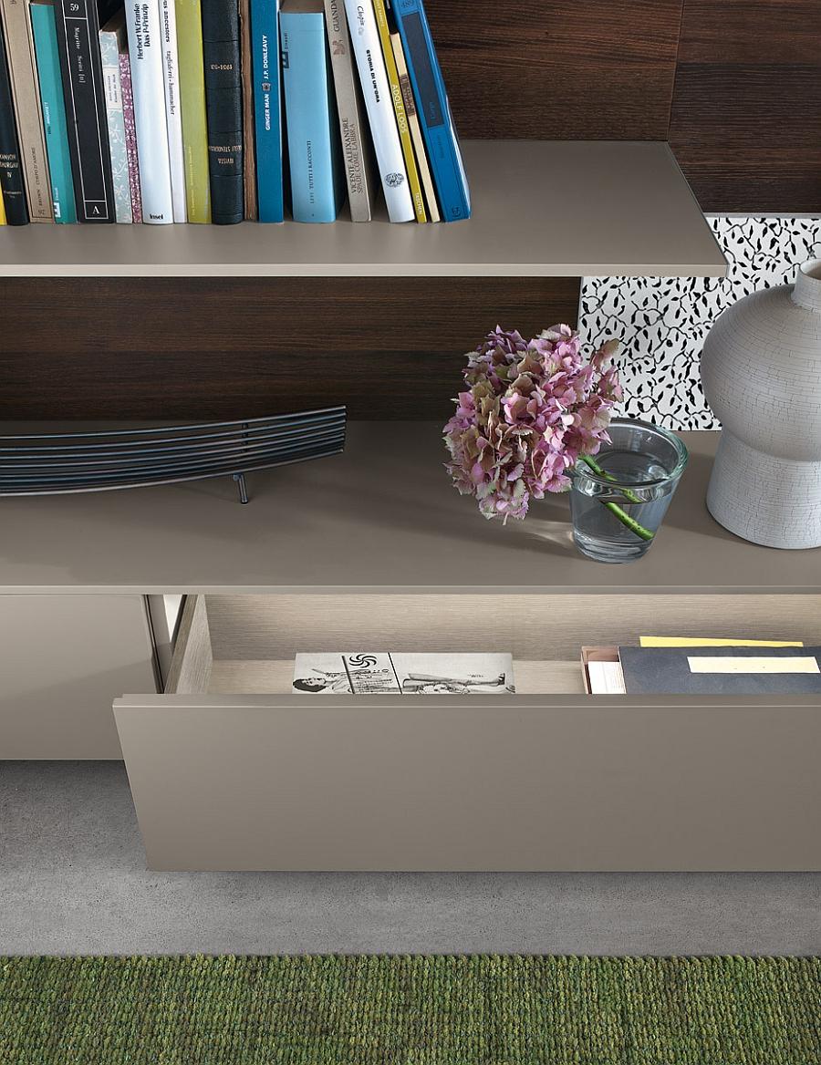Прекрасная настенная модульная система для гостиной с выдвижными ящиками