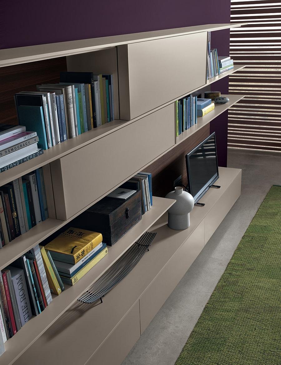 Чудесная настенная модульная система для креативной гостиной