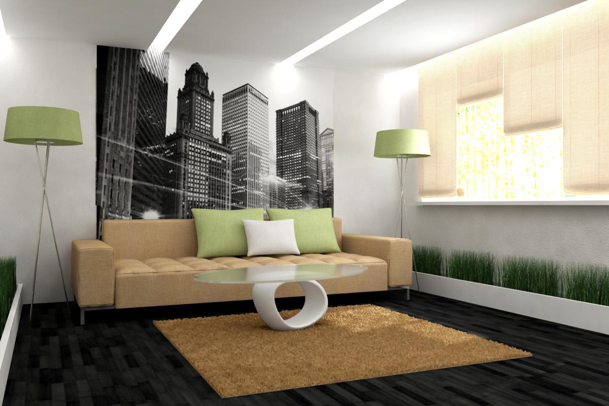 Дизайн стены гостиной