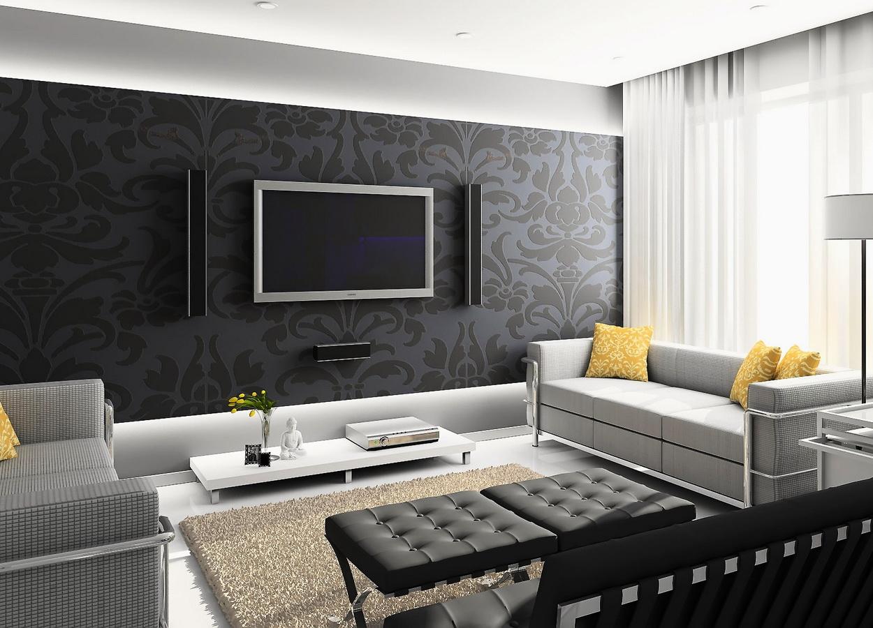 Оригинальное оформление стен гостиной зоны