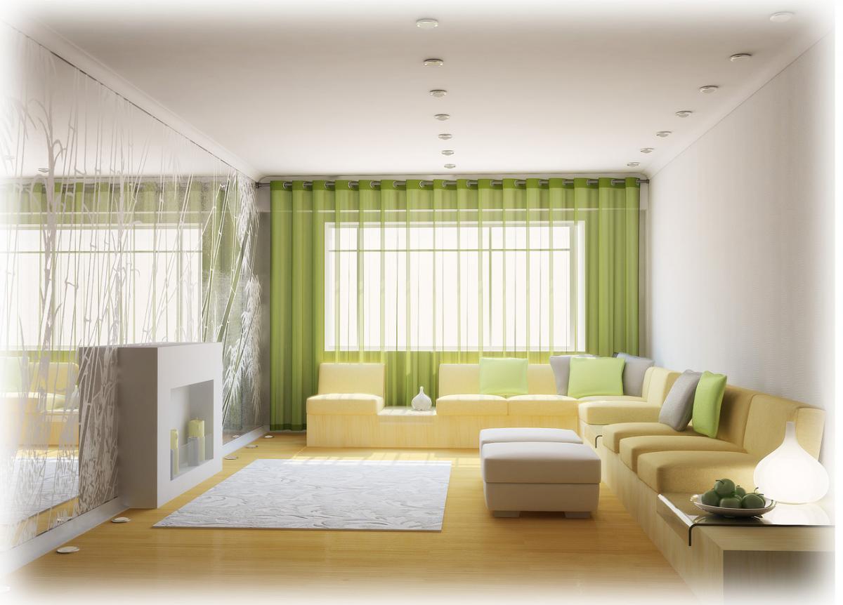 Яркое оформление стен гостиной зоны
