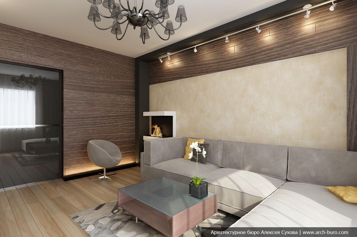 Прекрасное оформление стен гостиной зоны