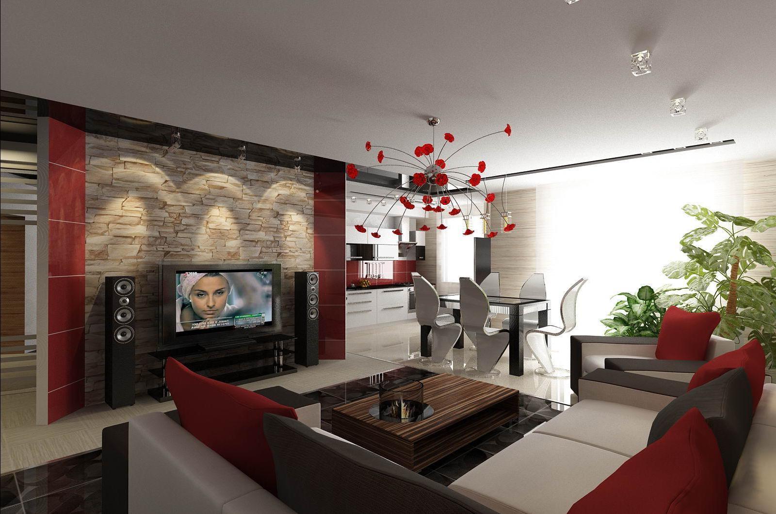 Удивительное оформление стен гостиной зоны