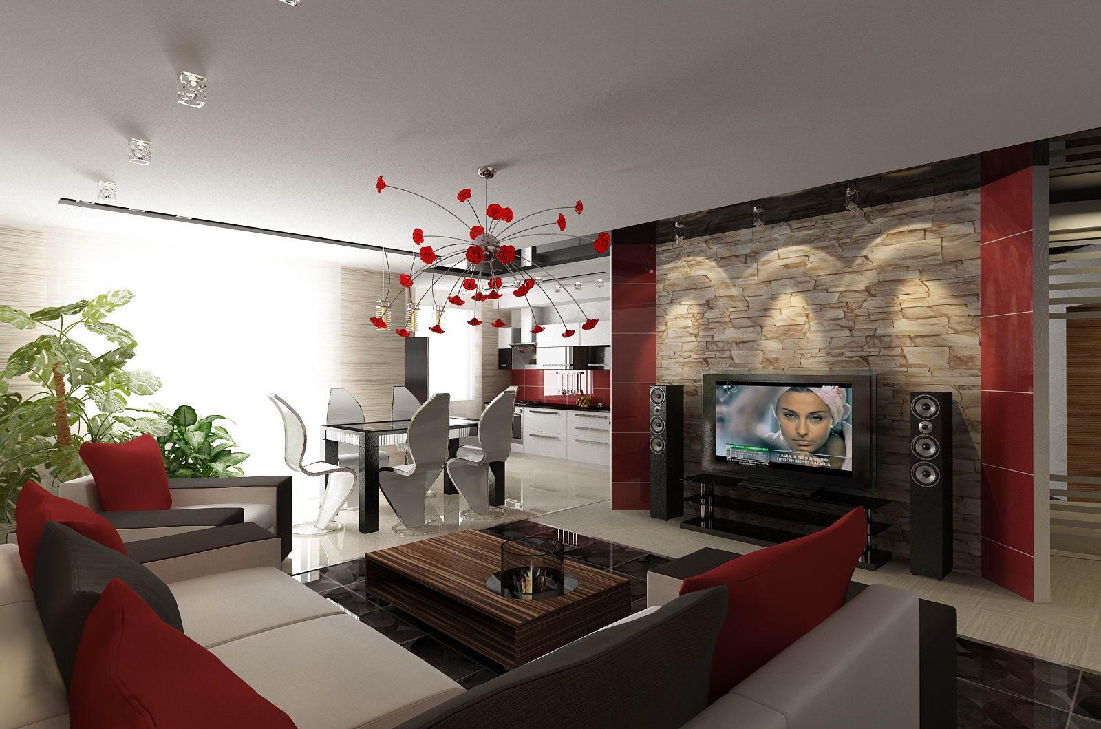 Шикарное оформление стен гостиной зоны