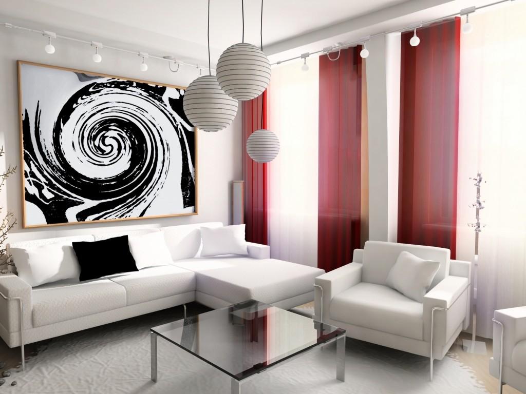 Дивное оформление стен гостиной зоны