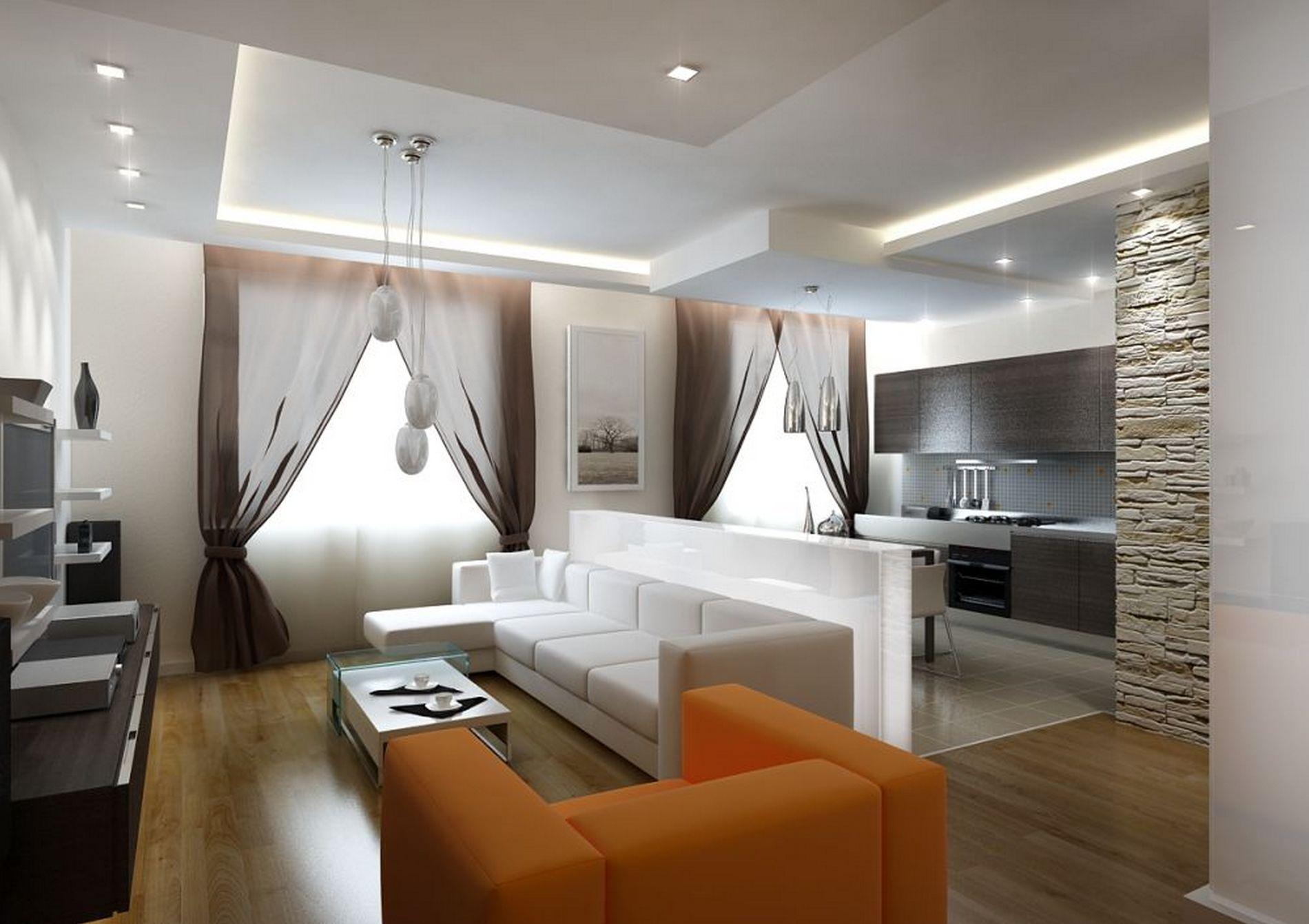 Красивое оформление стен гостиной зоны