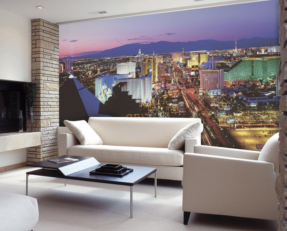 Голшовокружительное оформление стен гостиной зоны