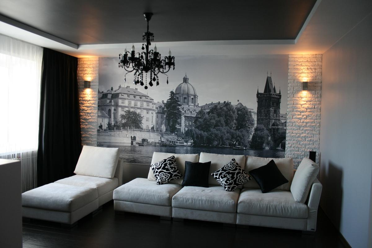 Сногсшибательное оформление стен гостиной зоны