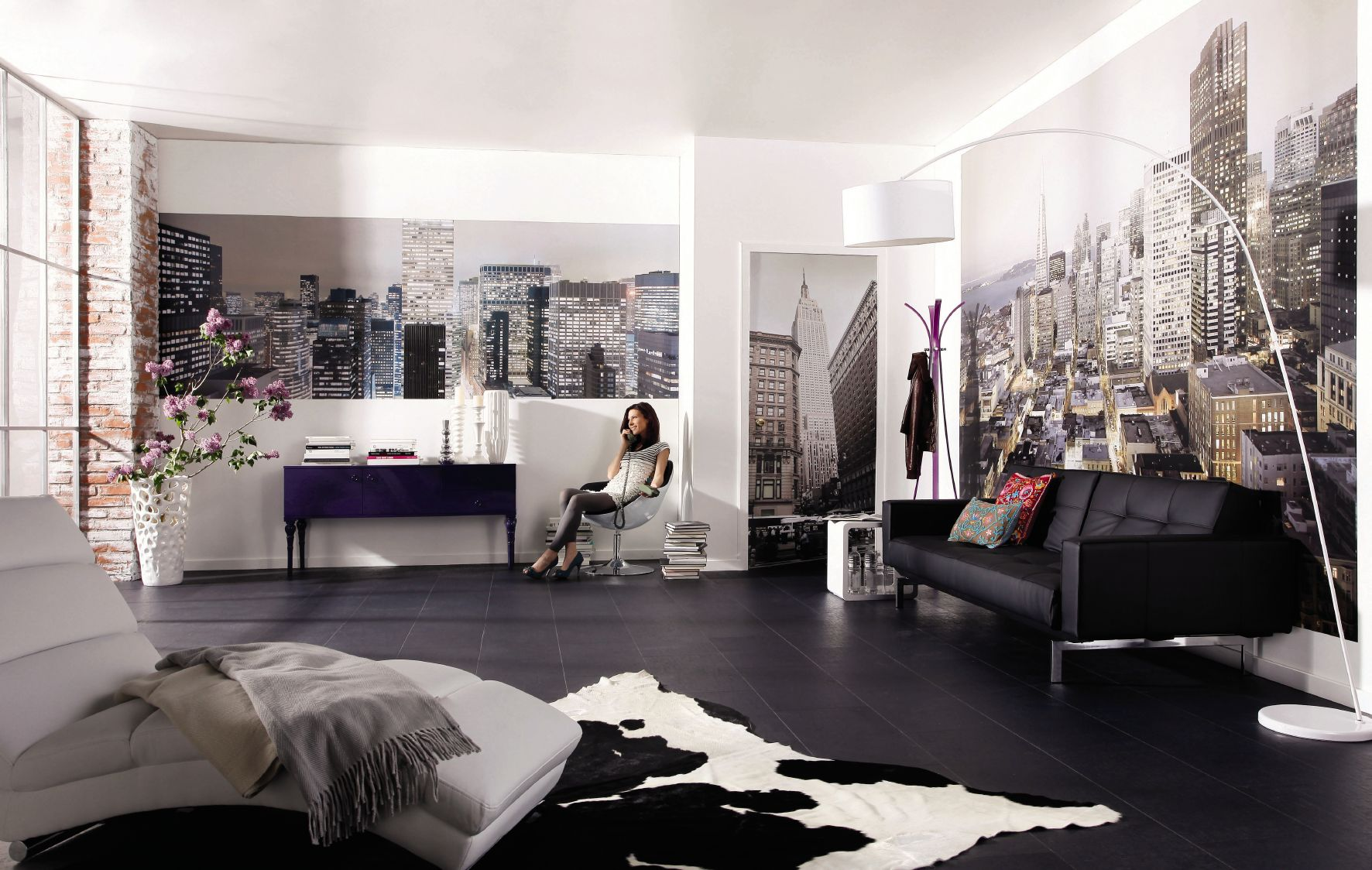 Оформление стен гостиной зоны