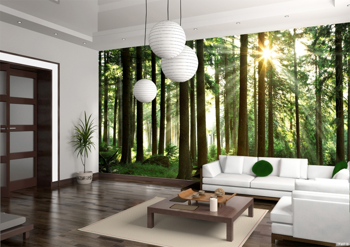 Уникальное оформление стен гостиной зоны