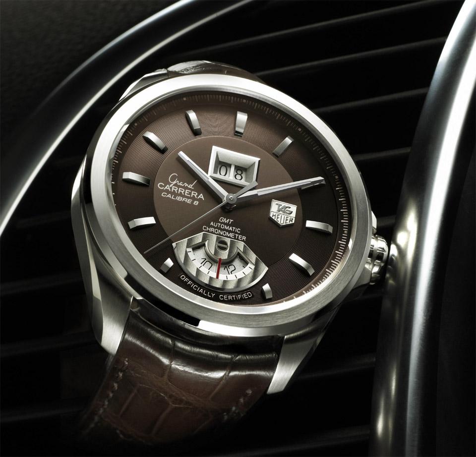 Алюминиевая основа часов Tag Heuer из коллекции Grand Carrera с кожаным ремешком