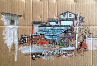 Рисунки на картоне: импровизированная художественная галерея китайского художника Веньи