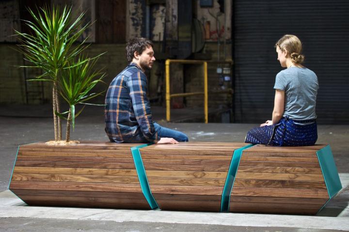 Красивая деревянная скамья с цветочным горшком Boxcar от Revolution Design House