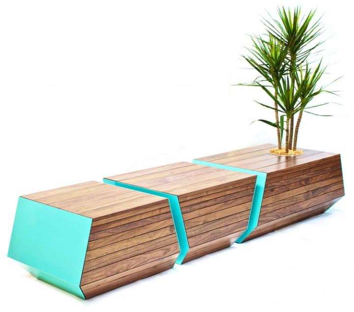 Уникальная деревянная скамья с цветочным горшком Boxcar от Revolution Design House