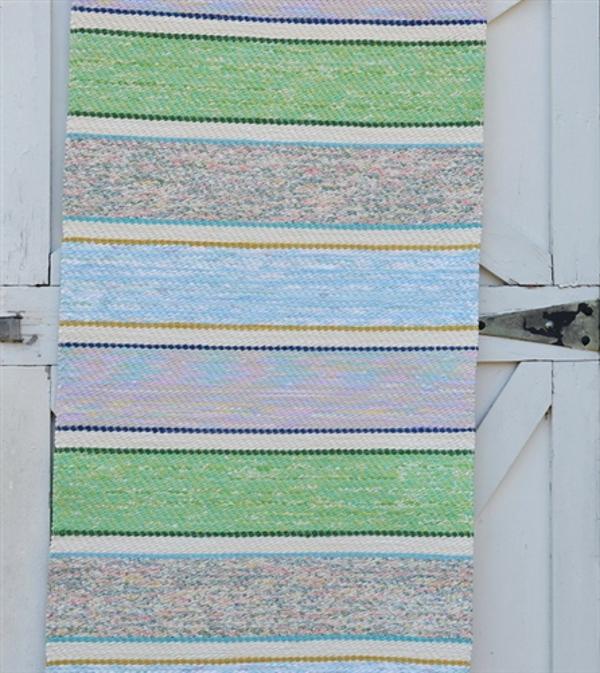 Верёвочный коврик в полоску в морских цветах