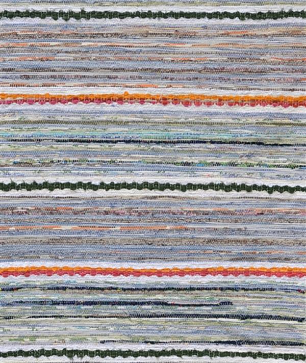 Верёвочный коврик с зелёными и оранжевыми полосками