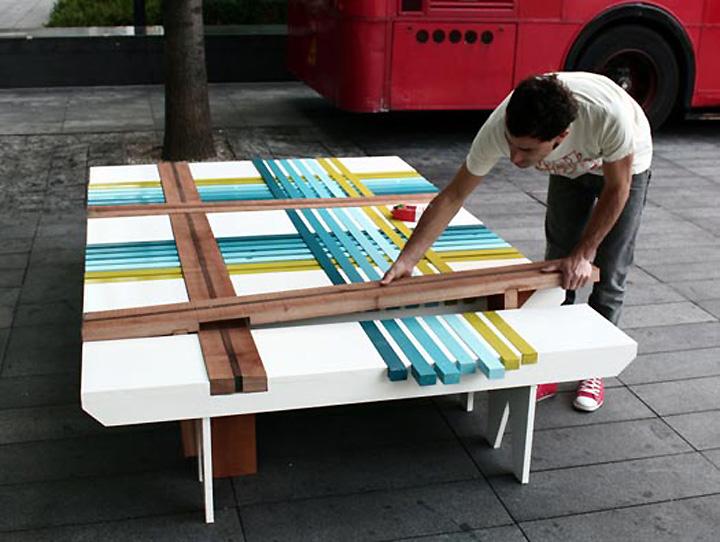 Процесс изготовления скамьи Plaid Bench от Шэй Алкалая и Яэль Мера