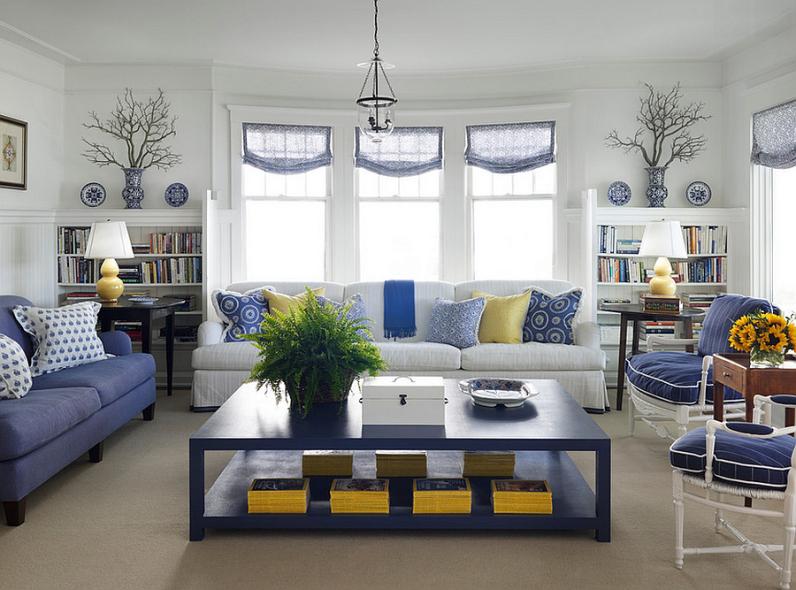Свежо-синие тона комнаты